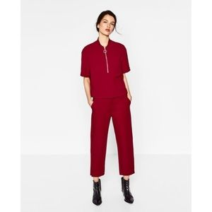 Zara TRF NWT red zip front polo